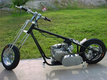 198cc Mini Chopper by SkaterX - Tank removed, all steel frame