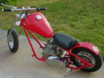 198cc Mini Chopper by SkaterX - All steel, raked back custom look, awesome gift for dad!