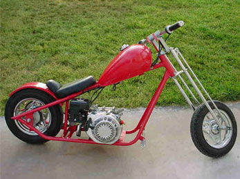 198cc Mini Chopper by SkaterX - Classic west coast styling, huge engine, in Red