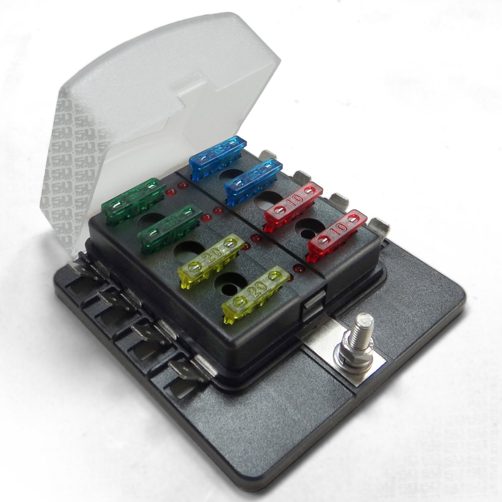 8 Way 12v Blade Fuse Box Distribution Block With Led Indicators Hot Car Universal Circuit Terminal Clear Cover Fuses
