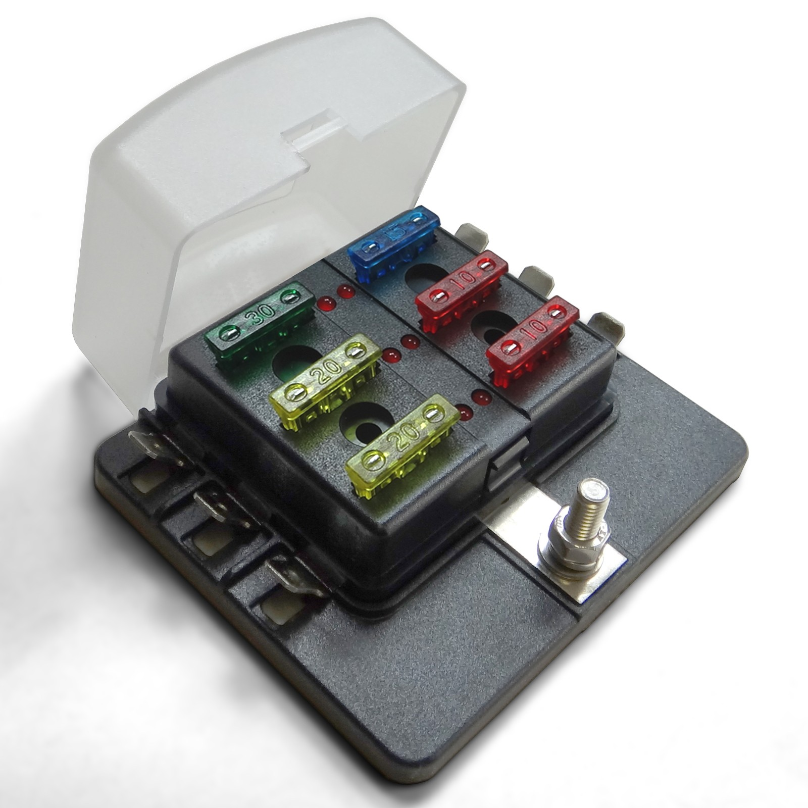 6 Way 12v Blade Fuse Box Distribution Block With Led Indicators Hot Rod Universal Circuit Terminal Clear Cover Fuses