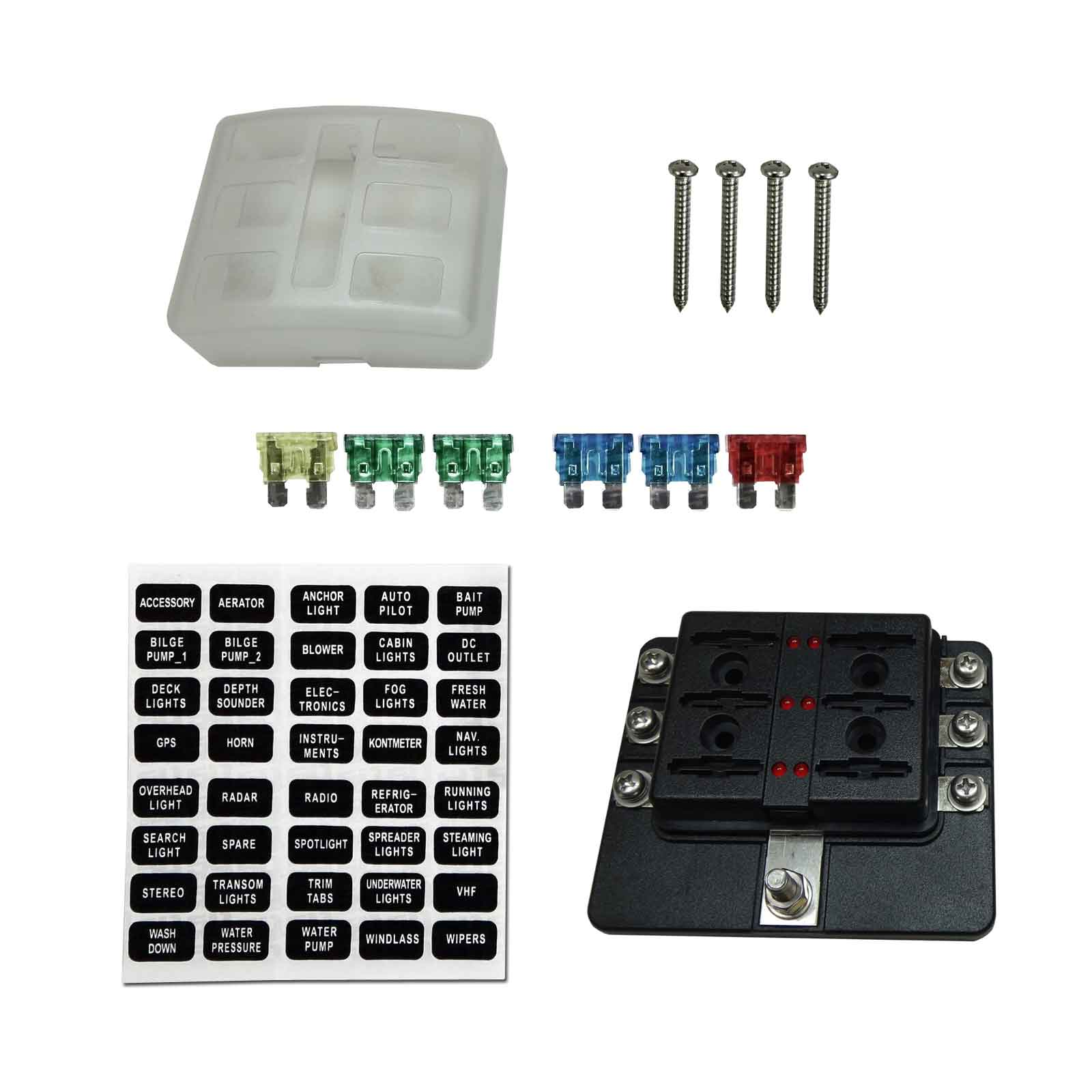 Universal 6 Way Standard 12V Circuit Blade Fuse Box with LED Indicators and  Accessories Designed to