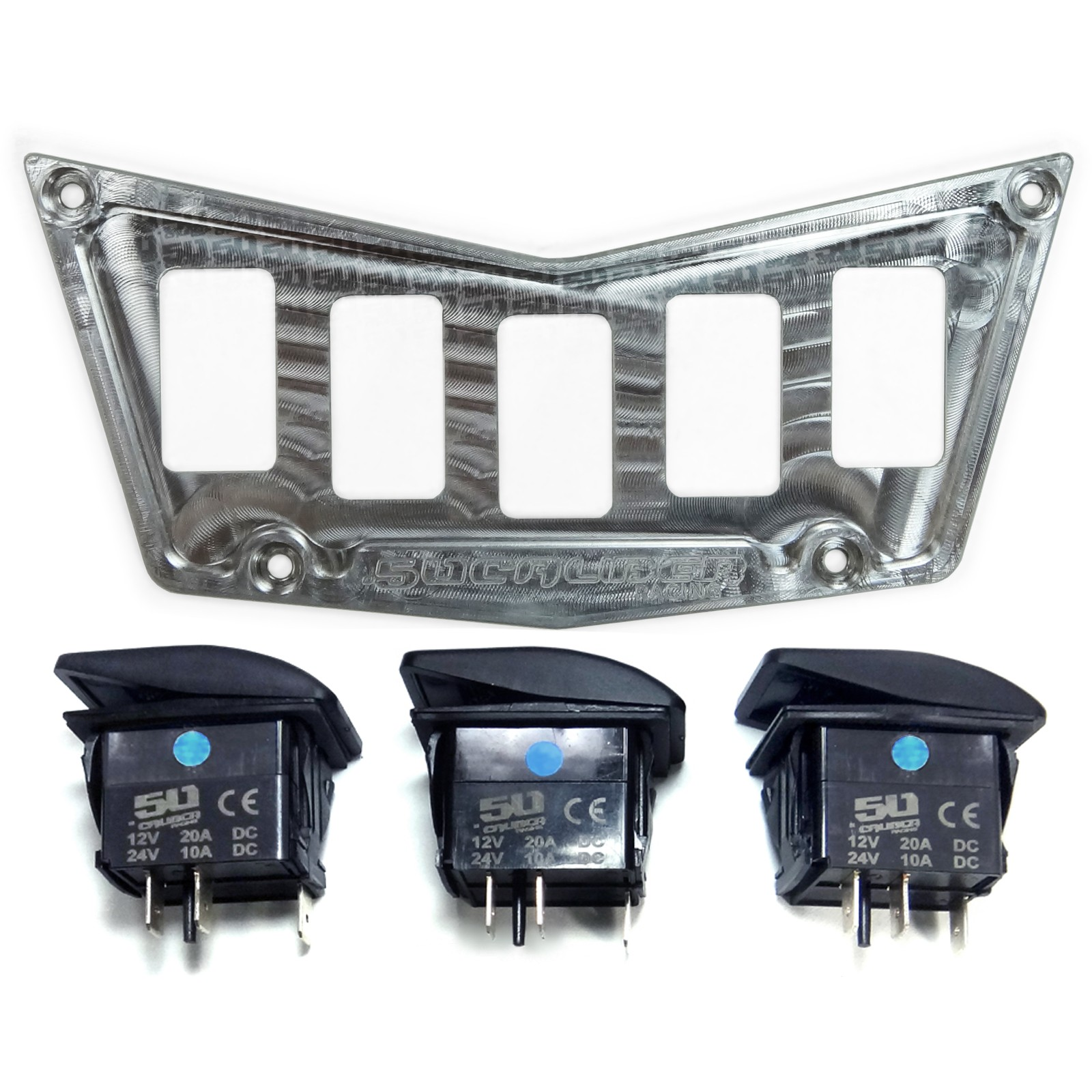 6061 Billet 5 Switch Dash Panel Plate Bezel Kit Polaris