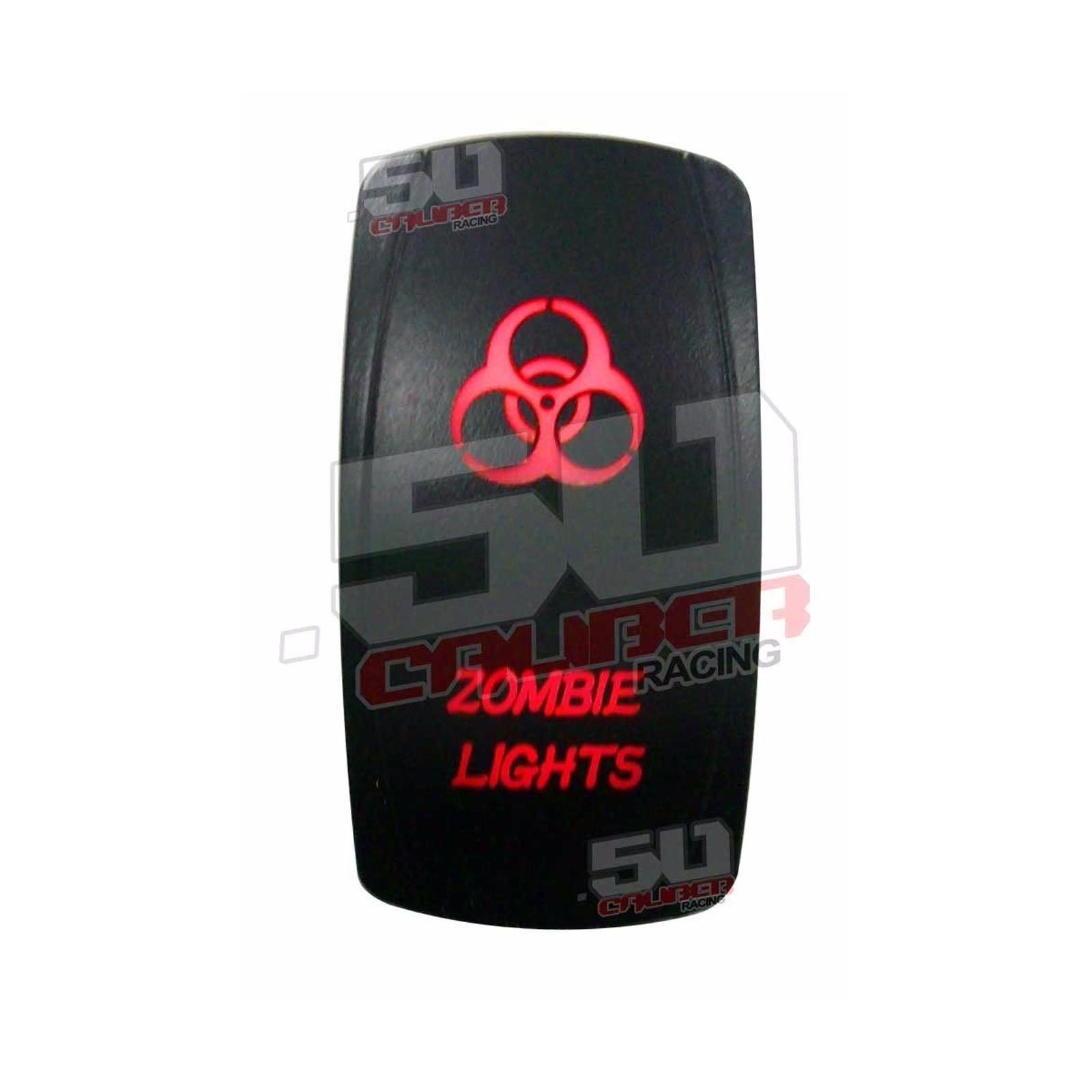 Laser Waterproof Rocker Switch Push Button RED LED WHIP LIGHTED Backlit