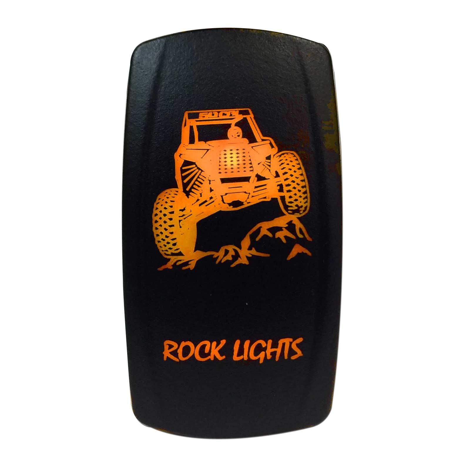 LASER ETCHED 12V LED BACK LIT ROCKER SWITCH BLUE Rear Lights RZR Can Am x3